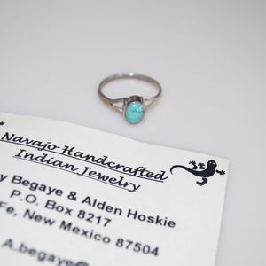 Navajo Turquoise Silver Ring Handcrafted Indian 7